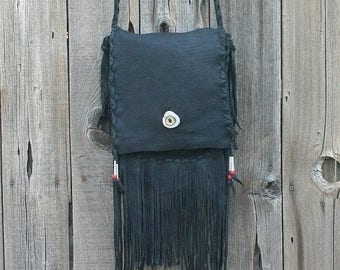ON SALE Black leather handbag with fringe ,  Black leather crossbody handbag ,  Rustic leather crossbody bag