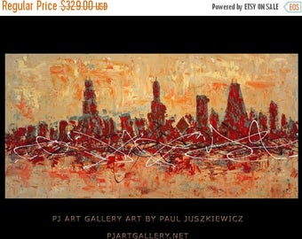 """17% OFF /ONE WEEK Only/ Chicago City Scape Knife Abstract by Paul Juszkiewicz 60""""x30"""" brown cognac"""