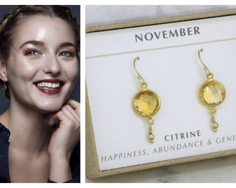 November birthstone earrings, citrine earrings for November birthday gift, citrine jewelry for daughter, sister, girlfriend, wife - Bay