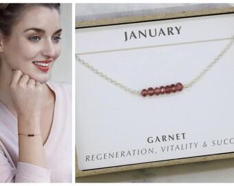 Dainty January birthstone bracelet, January birthday gift, delicate birthstone bracelet, delicate garnet bracelet - Martha