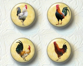 "Rooster Magnet Set Choose your Favorite from the 4 Different Prints, 1.5"" Size, Buy 3 Sets Get 1 Set Free  605M"