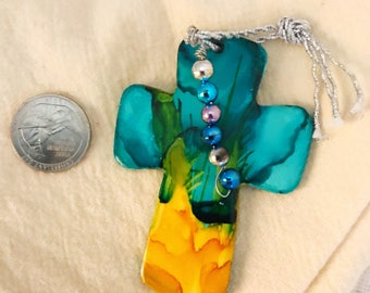 Hanging cross, ceramic cross, clay cross, turquoise cross, yellow cross, baptism cross, name tag for gift, gand cross for Christmas tree