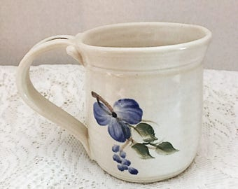 White stoneware clay coffee cup, ceramic tea cup, hot chocolate mug, white coffee cup with wild blue flowers, coffee, tea, hot chocolate cup