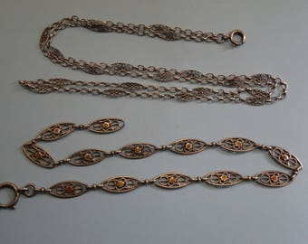2 antique SILVER pocket watch chains