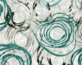 Urban Artifacts by RJR Fabrics - Full or Half Yard Teal Orbital Modern -  Newsprint Wonky Circles