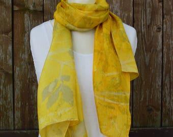 Silk Scarf | Silk Scarf Handpainted | Silk Scarf Long | Silk Accessory | Silk Shawl | Yellow Silk Scarf