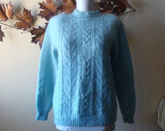 Mohair Wool & Acrylic Blue Pullover Sweater Aqua Blue Long Sleeve Made in Hong Kong Scallop Round Neckline Cable Knit XS to S