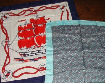 2 Scarves Sitmar Cruise Line White Red Blue Ship Fairsky Nautical Italy Made or Mint Paisley Liberty London Made Chic Silky Square Kerchief