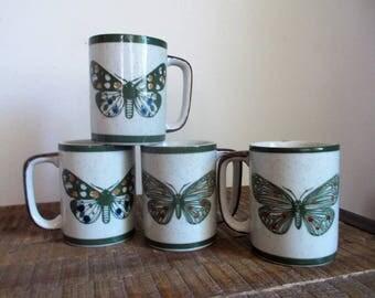 Set of Four Vintage Mod Ceramic Butterfly Mugs