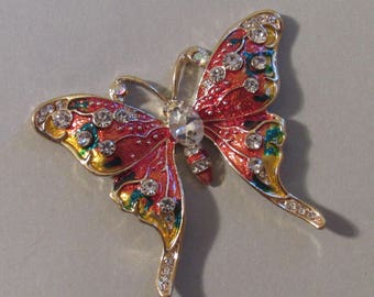 Jeweled and Embellished Orange Butterfly Magnet