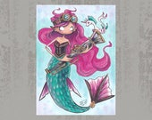 Steampunk Mermaid with friend - Original ACEO, marker illustration