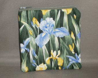 Iris - Coin Purse - Gift Card Holder - Card Case -Small Padded Zippered Pouch - Mini Wallet - Yellow - Blue - Garden