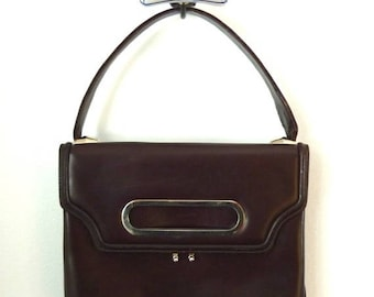 60s purse - 60s handbag - 1960s mod handbag - chocolate brown leather bag