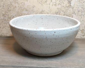 Handmade Stoneware Bowl - White Bowl - Ceramic Bowl - Cereal Bowl - Salad Bowl - Ice Cream Bowl - Speckled Stoneware Bowl - Rustic Bowl