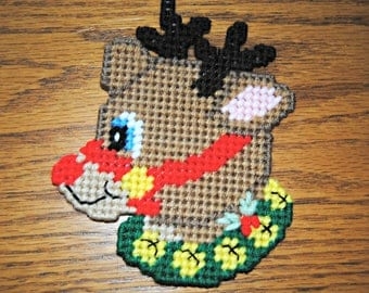 Plastic Canvas Christmas Rudolph the Red Nosed Reindeer Refrigerator Magnet