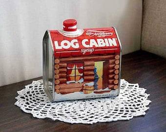 Log Cabin Syrup Tin, Retro Kitchen Decor, 100th Anniversary Commemorative Maple Syrup Tin, Farmhouse Table Decor, Vintage, Advertising Tin