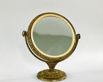 Antique Vanity Mirror with Stand. Brass Makeup Mirror. Feminine. Romantic. Gold Golden Vintage Mirror. Boho Home Decor. For Sale on Etsy.