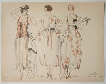 Pochoir print from Gazette du BON TON 1920 sketched by Mario Simon illustration of designs by Worth and Doeuillet
