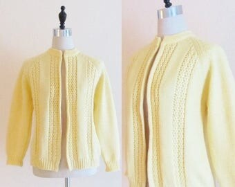 40% OFF SALE Vintage 1960's Yellow Knit Cardigan Sweater / The Bon Marche Size Medium