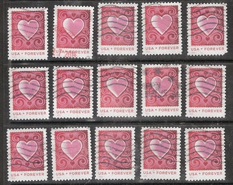 25 CUT PAPER HEART  Used & Cancelled U.S. (46c) Forever Postage Stamps *Pink Heart on Red