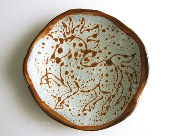Aile Lee Studio Pottery Abstract Mid Century Modern Horse Design Plate