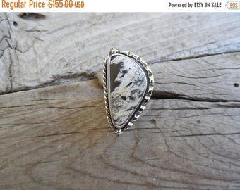 ON SALE White Buffalo turquoise ring handmade in sterling silver