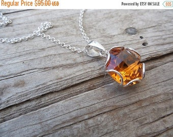 ON SALE Madeira citrine necklace handmade in sterling silver 925