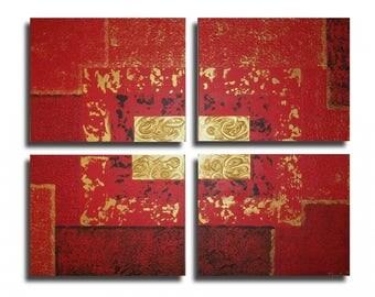 Tableau toile rouge noir or moderne art contemporain abstrait salon chambre