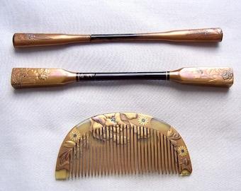 3 vintage Japanese Kanzashi hair accessories geisha hair comb hair pick hair fork hair ornament hair jewelry (AAK)