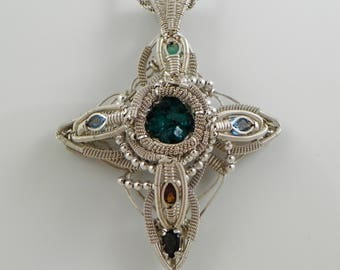 Argentium sterling silver Wire Wrap Pendant, Dioptase
