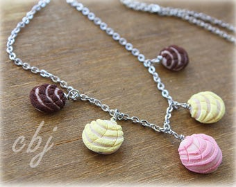 Pan Dulce Necklace, Concha Necklace, 5 concha dangle necklace