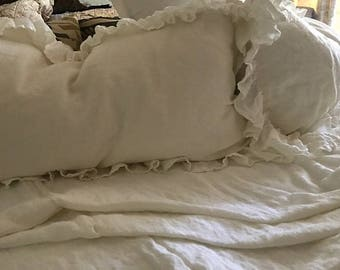 Body Pillow Sham-Long Ruffled Body Pillow Sham-Washed Linen---Zip Closure---20x56 Body Pillow Sham for your Insert-Washed Linen Pillow Cover