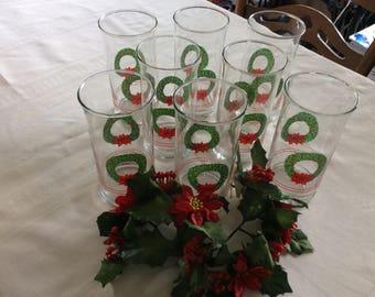 8 Vintage Christmas Glasses Wreath Decoration
