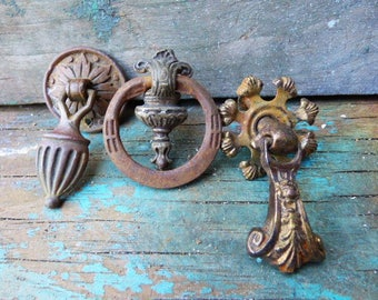3 Antique Drawer pulls drop handles ornate Victorian Drop dresser cabinet salvage hardware SalvageRelics