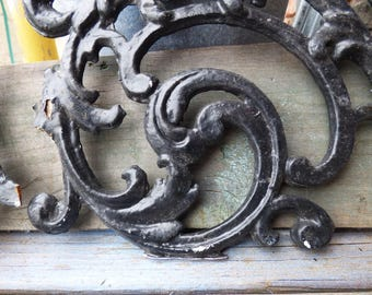 Vintage iron garden Architectural salvage embellishment decorative parts panel Victorian Shabby French Country supplies