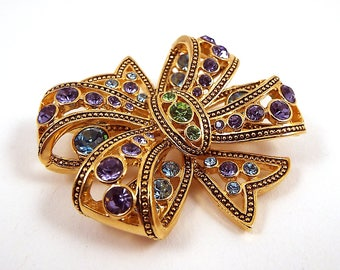 Vintage Rhinestone Bow Brooch - Large Bow Pin - Multi Colored Brooch - Magnetic Brooch - Purple Blue Green - Gold Toned