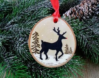 Wood Burned Rudolph Reindeer Ornament - Deer - Birch Slice Christmas Hand Burned - Painted