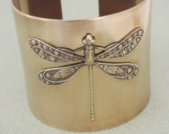 Vintage Bracelet - Art Deco Bracelet - Dragonfly Bracelet - Vintage Cuff - Statement Bracelet - Dragonfly Jewelry - handmade jewelry