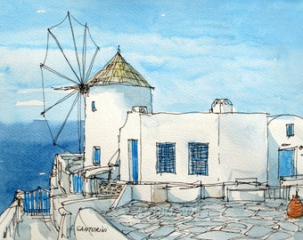 Santorini Oia Windmill Greece art print from an original watercolour painting