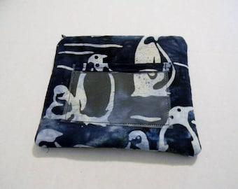 Penguin Batik Zipper Change Purse