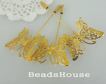 20%off: 6Pcs Golden Plated  Butterfly  Stick Pin -Nickel Free.