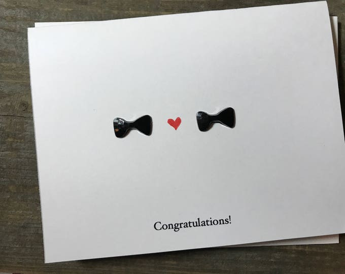 Congratulations Gay Wedding Card, with two bow ties, hand drawn, made on recycled paper, comes with envelope and seal