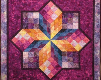 Quilted Batik Couch Throw Wall Hanging Tablecloth Rainbow colors 3-D blocks fuchsia purple gold