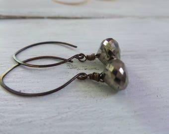 Elongated Pyrite Earrings, Pyrite Earrings, Long Brass Earrings, Pyrite Jewelry, Gift Women, Gemstone Jewelry, Gifts Under 25, Gifts For Her