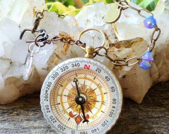 Steampunk Compass Necklace - Follow Your Heart - Working Compass - Charm Necklace C 3-7