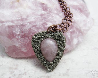 "Bohemian Pyrite and Rose Quartz Crushed Gemstone Pendant Necklace .:. OOAK -- Aged copper metals and long 24"" chain,  boho style, chic"