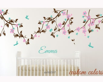 cherry blossom wall decal nursery wall mural Baby Girl Nursery Decor : Branch Tree, blossom branch and Custom Name -tree branch decor