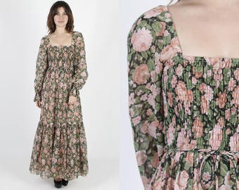 Bohemian Wedding Dress Long Dress Black Dress Floral Dress Boho Dress Vintage 70s Rose Renaissance Hippie Prairie Festival Maxi Dress S