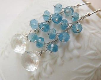 Clearance Rock Crystal and Santa Maria blue Aquamarine earrings. Sterling silver. Cluster earrings. Dangle earrings. Aquamarine. Ready to sh