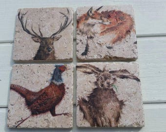 Mixed Country Fox Pheasant Hare Deer Coaster Set of 4 Tea Coffee Beer Coasters